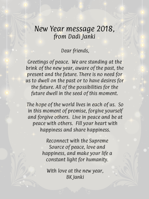 svbrahmakumaris – New Year message from Dadi Janki